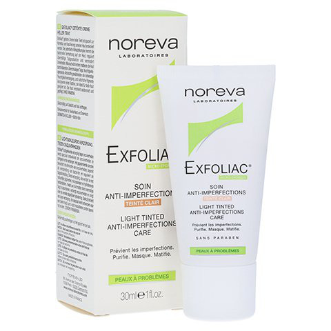 noreva EXFOLIAC, Meso-post-abdeckende Creme, leicht getönt=Cream Light, 30 ml Tube